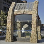 WAC public art installation: U of W bus shelter at Ellice Ave. and Colony St.